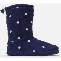 Joules Women's Homestead Fleece Lined Slipper Socks - French Navy Spot - M - Navy