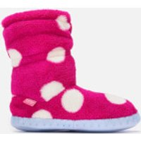 Joules Kids' Padabout Fleece Lined Slippersock - Raspberry Rose Spot - M - Pink