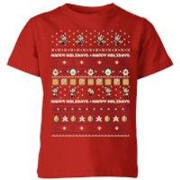 Nintendo Super Mario Happy Holidays The Good Guys Kid's Christmas T-Shirt - Red - 11-12 Years - Red