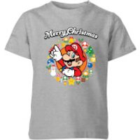 Nintendo Super Mario Mario Merry Christmas Wreath Kid's T-Shirt - Grey - 3-4 Years - Grey