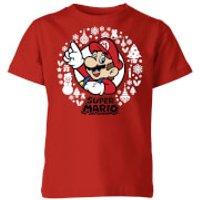 Nintendo Super Mario White Wreath Kid's Christmas T-Shirt - Red - 5-6 Years - Red