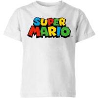 Nintendo Super Mario Colour Logo Kid's T-Shirt - White - 5-6 Years - White