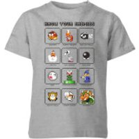 Nintendo Super Mario Know Your Enemies Kid's T-Shirt - Grey - 7-8 Years - Grey