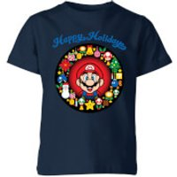 Nintendo Super Mario Mario Happy Holidays Kid's T-Shirt - Navy - 9-10 Years - Navy