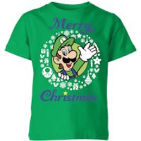 Nintendo Super Mario Luigi Merry Christmas Kid's T-Shirt - Kelly Green - 7-8 Years - Kelly Green