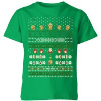 Nintendo Super Mario Retro Kid's Christmas' T-Shirt - Kelly Green - 9-10 Years - Kelly Green
