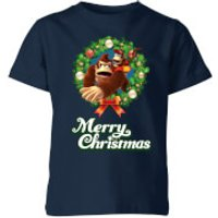 Nintendo Donkey Kong Wreath Merry Christmas Kid's T-Shirt - Navy - 9-10 Years - Navy