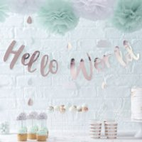 Ginger Ray Hello World Bunting - Rose Gold