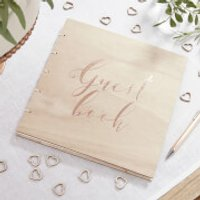 Ginger Ray Rose Gold Wooden Guest Book - Beautiful Botanics - Book Gifts