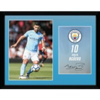 Manchester City Aguero 17/18 12 x 16 Inches Framed Photograph - Manchester City Gifts