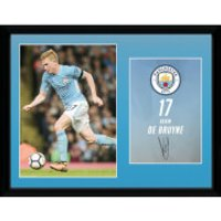 Manchester City De Bruyne 17/18 12 x 16 Inches Framed Photograph - Manchester City Gifts