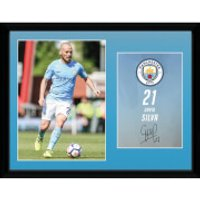 Manchester City Silva 17/18 12 x 16 Inches Framed Photograph - Manchester City Gifts