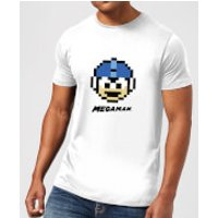 Mega Man Pixel Face Mens T-Shirt - White - S - White