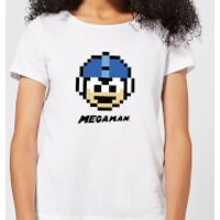 Mega Man Pixel Face Women's T-Shirt - White - XL - White