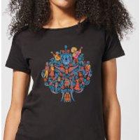 Coco Tree Pattern Women's T-Shirt - Black - M - Black