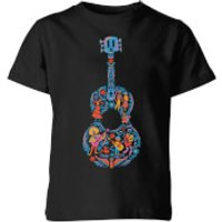 Coco Guitar Pattern Kids' T-Shirt - Black - 9-10 Years - Black - Music Gifts