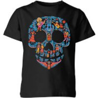 Coco Skull Pattern Kids' T-Shirt - Black - 11-12 Years - Black