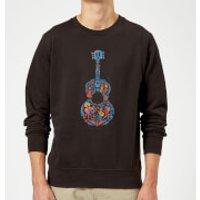 Coco Guitar Pattern Sweatshirt - Black - XXL - Black - Music Gifts