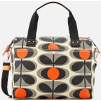 Orla Kiely Womens Canvas Flower Stem Print Zip Messenger Bag - Granite