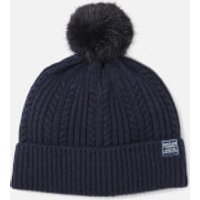 Joules Women's Bobble Hat Fine Cable with Faux Fur Pom - French Navy