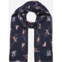 Joules Women's Wensley Woven Scarf - Dogs in Leaves