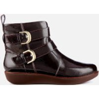 FitFlop Women's Laila Double Buckle Crinkle Patent Ankle Boots - Berry - UK 5 - Burgundy