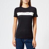 Calvin-Klein-Jeans-Womens-Logo-Vinyl-Stripe-Regular-Fit-TShirt-CK-Black-S-Black