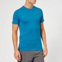 Asics Men's Seamless Short Sleeve Top - Race Blue Heather - L - Blue