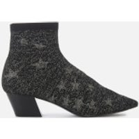 Ash Cosmic Star Knitted Heeled Ankle Boots - Black/silver
