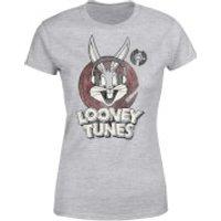 Looney Tunes Bugs Bunny Circle Logo Women's T-Shirt - Grey - XS - Grey