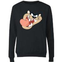 Looney Tunes Tasmanian Devil Face Womens Sweatshirt - Black - XXL - Black