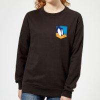 Looney Tunes Road Runner Face Faux Pocket Women's Sweatshirt - Black - XL - Black