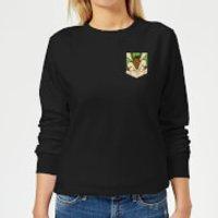 Looney Tunes Wile E Coyote Face Faux Pocket Women's Sweatshirt - Black - XS - Black