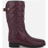 Hunter-Womens-Refined-Gloss-Quilted-Short-Wellies-Oxblood-UK-8-Purple