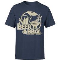 Beer & BBQ Men's T-Shirt - Navy - S - Navy