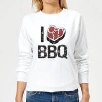 I Love BBQ Women's Sweatshirt - White - XXL - White - Bbq Gifts