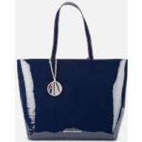 Armani Exchange Patent Shopping Tote Bag - Navy