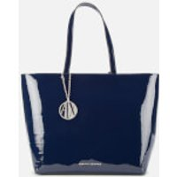 Armani Exchange Women's Patent Shopping Tote Bag - Navy