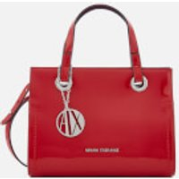 Armani Exchange Patent Logo Small Tote Bag - Red