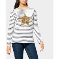 Joules Women's Harbour Luxe Star Stripe Jersey Top - Cream - UK 6 - Cream