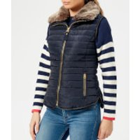 Joules Women's Melbury Padded Gilet with Faux Fur Trimmed Hood - Marine Navy - UK 8 - Navy