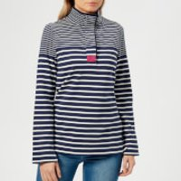 Joules Women's Saunton Classic Funnel Neck Sweatshirt - French Navy Stripe - UK 10 - Navy