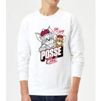 Tom & Jerry Posse Cat Sweatshirt - White - XXL - White - Cat Gifts