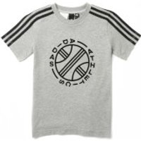 adidas Boys ID Winner Short Sleeve T-Shirt - Medium Grey Heather - 5-6 Years - Grey