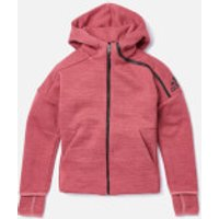 adidas Girls ZNE 3 Hoody - ZNE Heather/Trace Maroon - 7-8 Years - Red