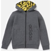 adidas Boys Linear Full Zip Hoody - Dark Grey Heather - 11-12 Years - Grey