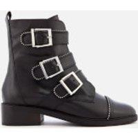 Carvela Sparse Leather Buckle Biker Boots - Black