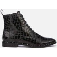 KG Kurt Geiger Womens Tilda Leather Croc Lace-Up Boots - Black - UK 3 - Black