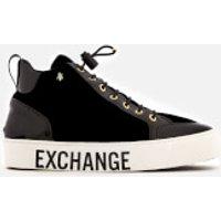 Armani Exchange Velvet Flatform Hi-top Trainers - Black/light Gold