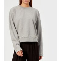 T-by-Alexander-Wang-Womens-Dry-French-Terry-Distressed-Sweatshirt-Heather-Grey-M-Grey